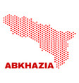abkhazia map - mosaic of love hearts vector image vector image
