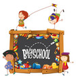 back to school template with doodle children vector image vector image