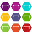 barrier icon set color hexahedron vector image vector image