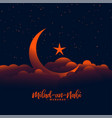 beautiful eid milad un nabi design with moon and vector image