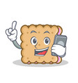 biscuit cartoon character style with phone vector image