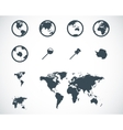 black world map icons set vector image vector image