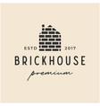 brick house vintage retro hipster logo icon vector image vector image