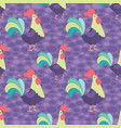 bright purple rooster seamless pattern vector image vector image