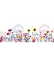bright seamless meadow border with beehives bees vector image vector image