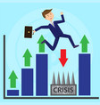 businessman jumps over profoundness escaping vector image