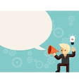 Businessman with megaphone speaking idea speech vector image vector image