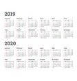 calendar 2019 2020 year - wee vector image vector image