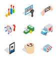capable female icons set isometric style vector image vector image