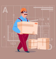 cartoon builder carry box wearing uniform and vector image vector image
