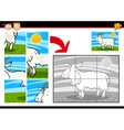 cartoon goat jigsaw puzzle game vector image vector image