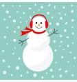Cartoon Snowman in scarf and headphones Blue vector image