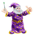 cartoon wizard with wand vector image