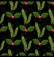 christmas watercolor mistletoefir branchescard vector image