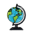 color crayon stripe cartoon earth globe vector image vector image