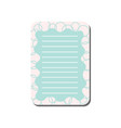 cute card with place for notes light blue lined vector image vector image
