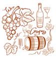 doodle wine set vector image vector image