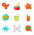 drum bit icons set cartoon style vector image vector image