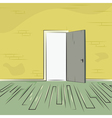 exit door from room with old brick wall and wooden vector image vector image