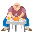 Fatman at a crowded table vector image vector image