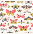 folk flower insect surface pattern vector image vector image