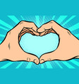 gesture with hands heart vector image vector image