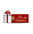 greeting card with inscription - be my valentine vector image