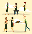 grill party people icon set vector image vector image