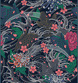 Japanese wave and koi as a seamless pattern