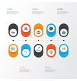 job flat icons set collection of payment pen vector image vector image