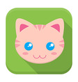 Kitty flat app icon with long shadow vector image vector image