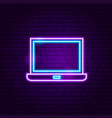 laptop neon label vector image vector image