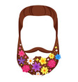 male mustache beard with flowers vector image