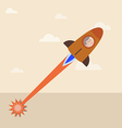 Man in a launching rocket to the sky vector image