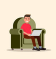 man with the laptop in hands sitting in a chair vector image