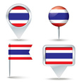 Map pins with flag of Thailand vector image