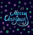 Merry Christmas - blue glittering lettering design vector image