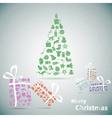 Merry Christmas tree with gifts in snow eps10 vector image vector image