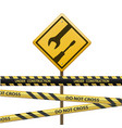 metal sign under construction signal tape vector image vector image