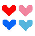 paper heart icon set red blue pink origami vector image vector image