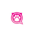 paw inside an chat icon and footprint symbol logo vector image vector image
