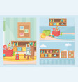 playroom toys shelf chair boards carpet boxes vector image vector image
