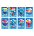 posters or cards hot air balloon trip tour vector image vector image
