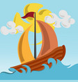 sailing boat on the ocean with wavy sea vector image vector image