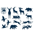 savanna and forest animals for hunting icons vector image vector image