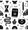seamless pattern with black magical elements vector image