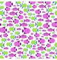 seamless pattern with cute cartoon fish in vector image vector image