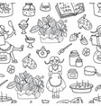 seamless pattern with pretty girl cooking j vector image