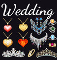 set jewelry made gold and silver with vector image vector image