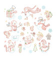 set of cute linear snowmen vector image